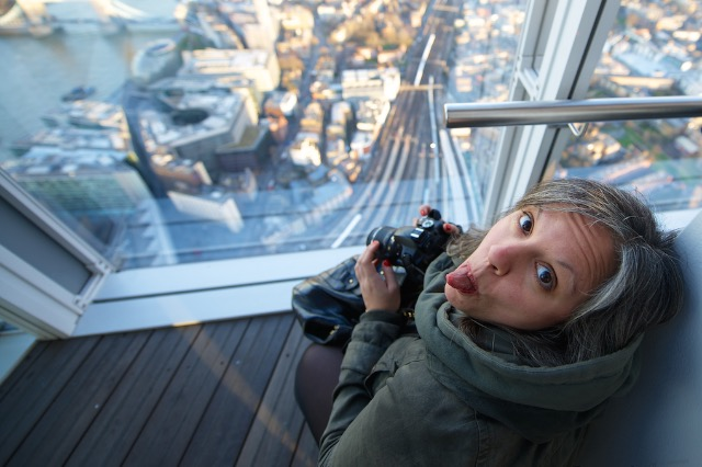 Francesca Fiore taking photos at                      the Shard in London