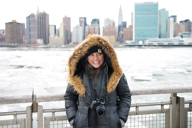 Francesca Fiore taking photos at  the                      waterfront in Long Island City in winter